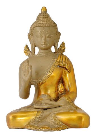 Antiquated Blessing Budha Brass Figure
