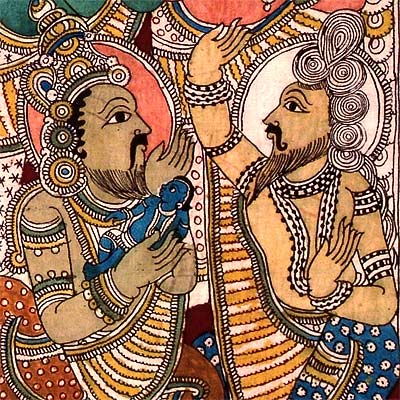 Sage Vasishta Blesses Emperor Dasaratha and His Infant Sons