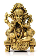 Ganesha Seated on Chowki - Brass Statue