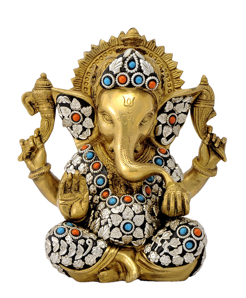 Chaturbhuj God Ganesha 7.75""