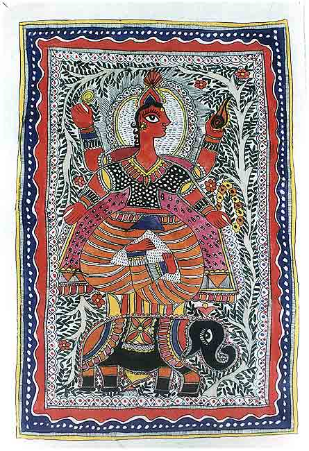 'Indra' The Rain God - Mithila Art Painting