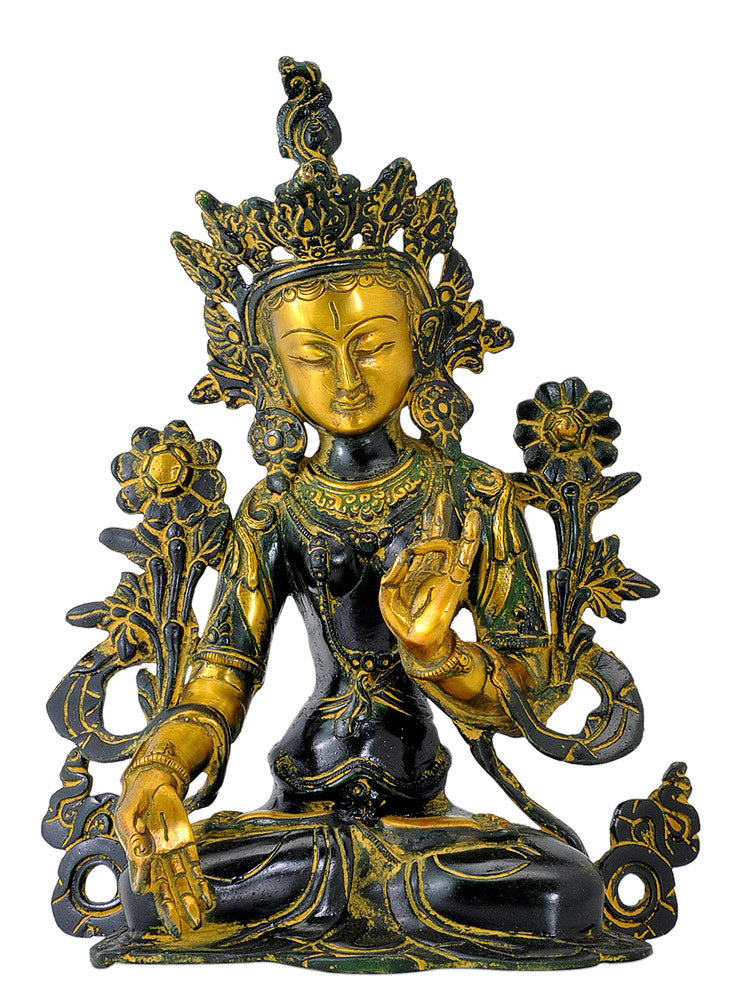 Buddhist Goddess Tara Brass Sculpture 11""