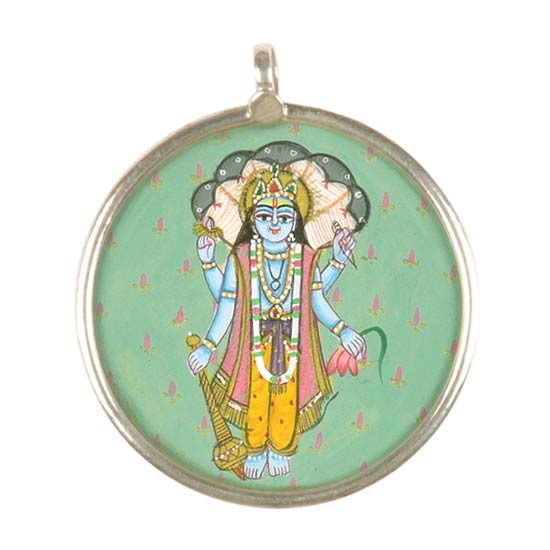 """Lord Narain"" Hand Painted Pendant"