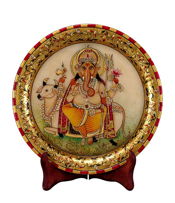 Lovely God Ganesha - Marble Saucer