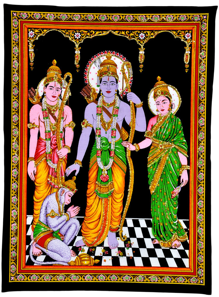 Sri Ram Darbar Cotton Tapestry Painting