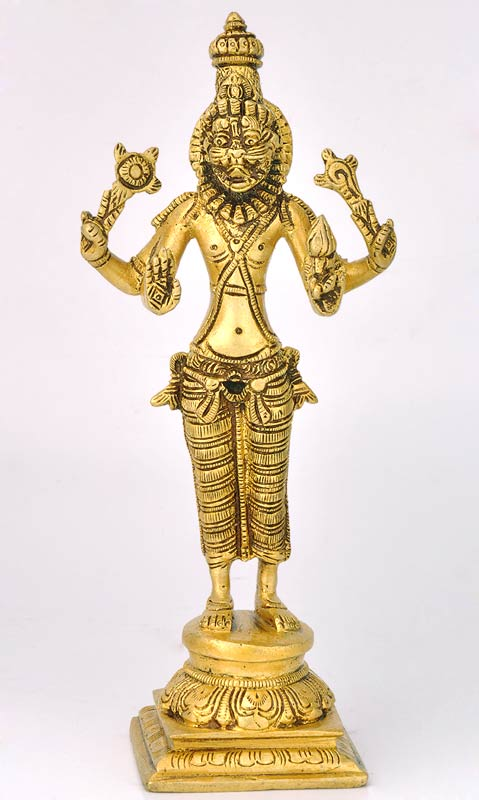 "Avatar of Lord Vishnu ""Narasimha"" Brass Statue 9"""