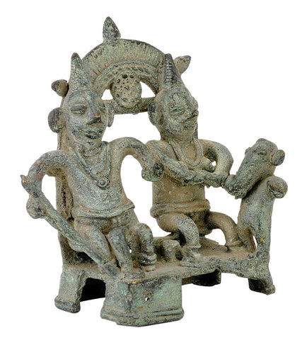 Antique Finish Folkart Statue of Lord Shiva Parvati