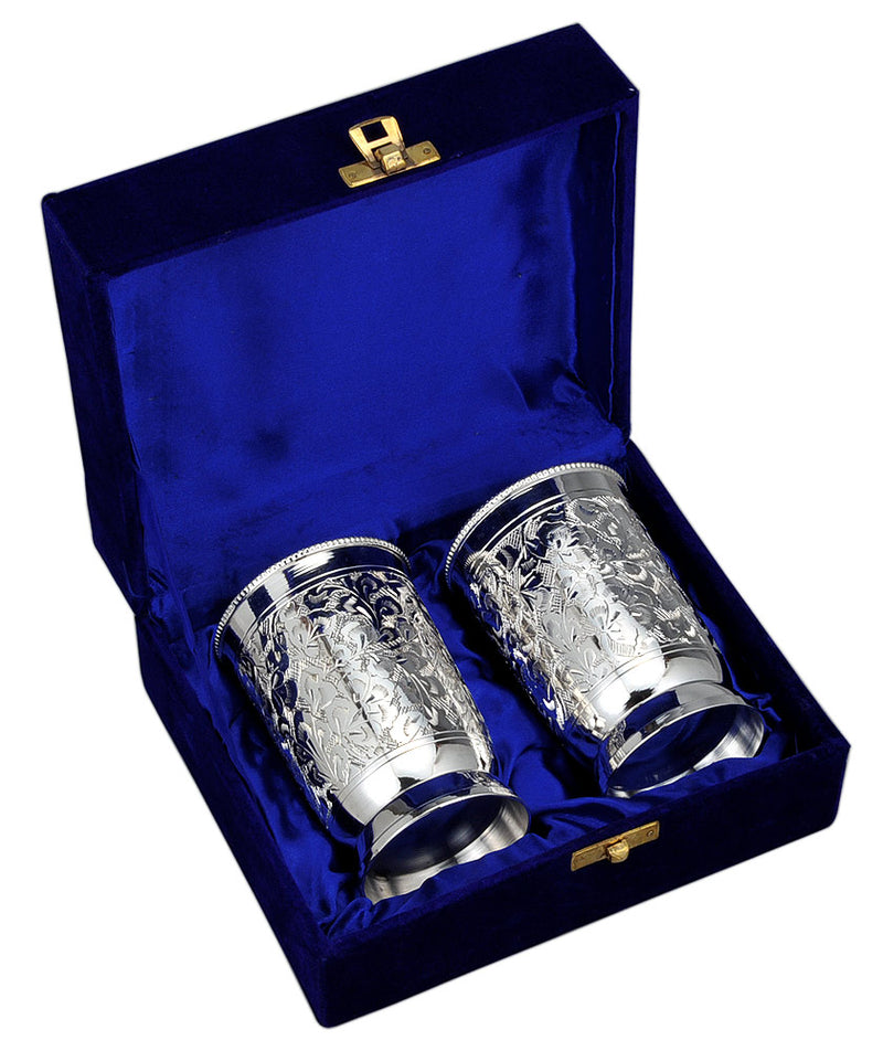 Floral Engraved Silver Plated Glass Set in Velvet Box