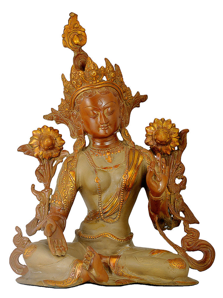 Goddess Tara - Brass Sculpture 15""