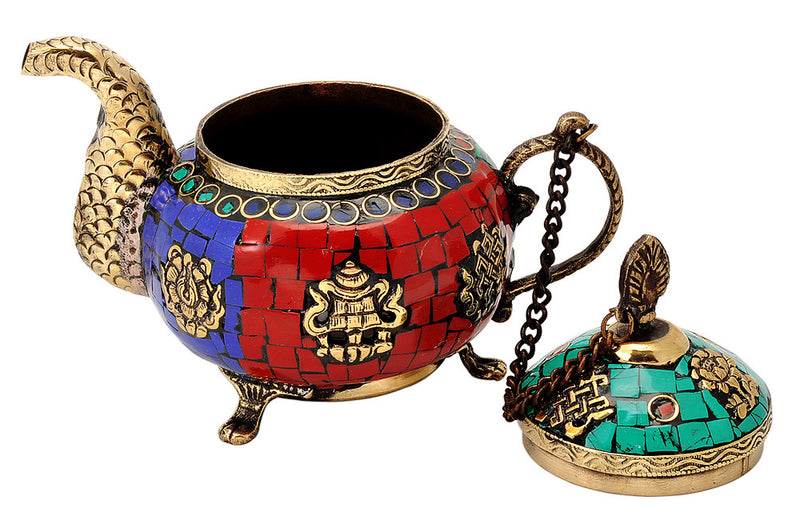 Tibetan Buddhist Kettle Decorated with Simulated Gemstones