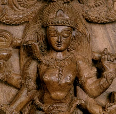 Vatuka Bhairava Wood Sculpture from South India 17""