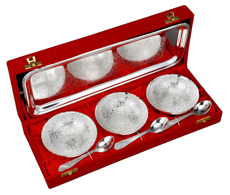 Silver Plated 3 Pc Bowl Set with 3 Spoon & 1 Serving Tray