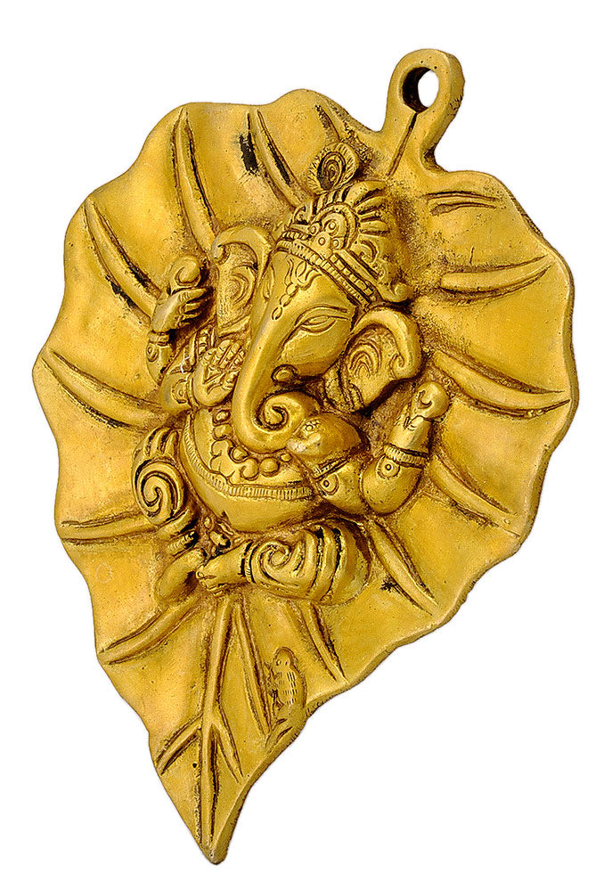 Brass Wall Hanging Ganesha on Leaf