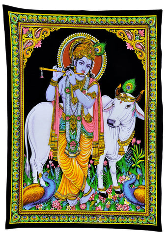 Lord Krishna Playing Flute Cotton Painting