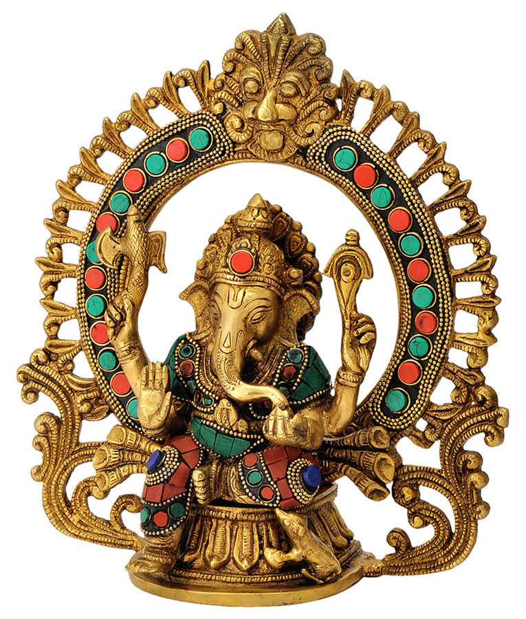 Ganpati on Throne Brass Statue Decorated with Colored Stones