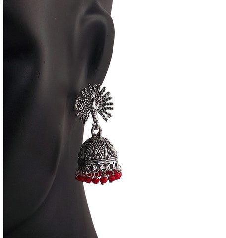 Red Beads Peacock Beautiful Indian Style Sliver Color Jhumki Earrings
