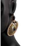 Elegant Black Gold Plated Synthetics Stone Earrings