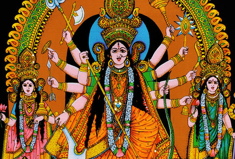 Goddess Durga Ma - Beautiful Cotton Tapestry