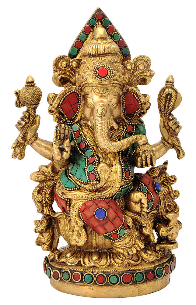Unique Vighnaharta Ganesha Seated on Throne