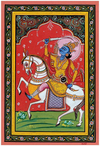 """Lord Kalki"" Vishnu Dashavtar Patachitra Painting 19"""