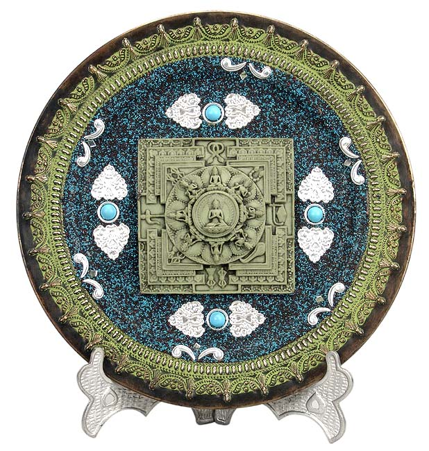 'The Buddha Mandala' Brass Plate with Stand