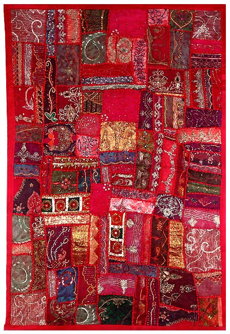 Cascading Crimson - Hand Embroidered Tapestry