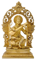 Seated Goddess Saraswati Playing Veena