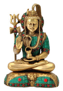 Blessing God Shiva Sculpture with Colored Mosaic