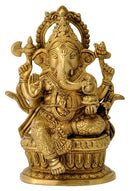 Seated Ekdanta Ganesha - Brass Figure