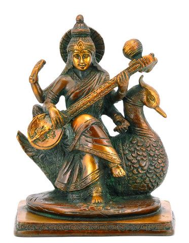 Goddess Saraswati Seated on Swan 7.50""