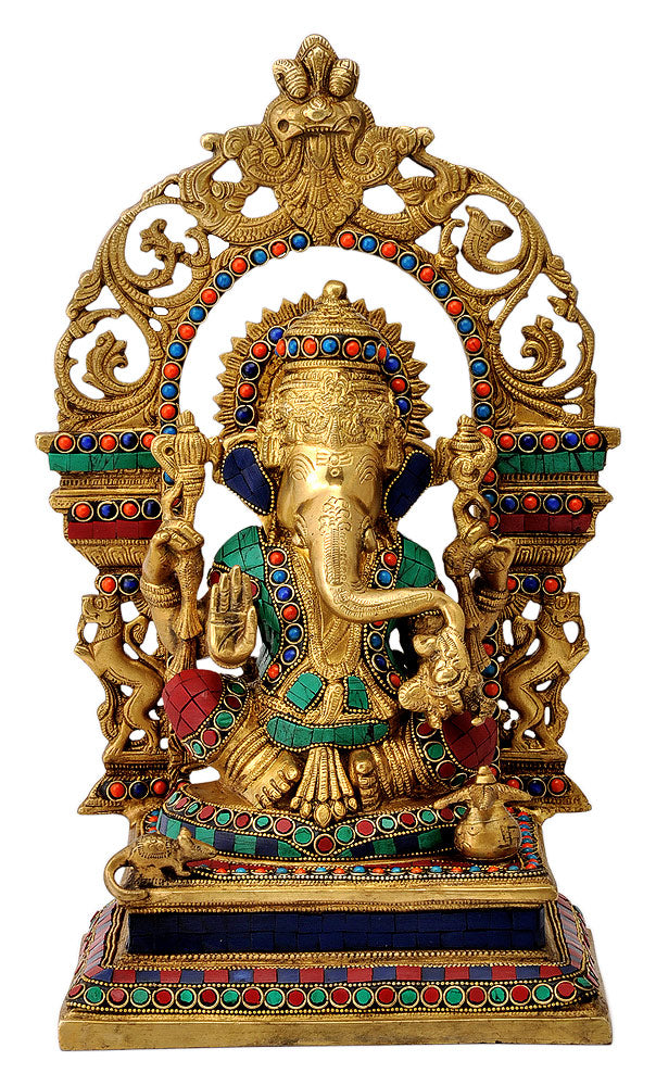 Enthroned Lord Ganesha Inlay Brass Statue