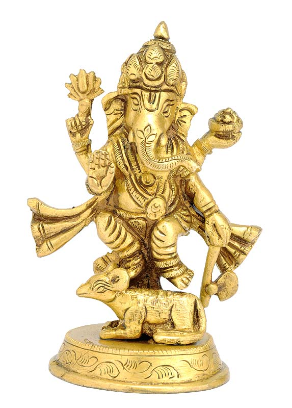 Standing Ganesh with His Mice - Brass Statue 4.5""