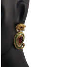Indian Ethnic Style Gold Plated Pearl and Stone Earrings
