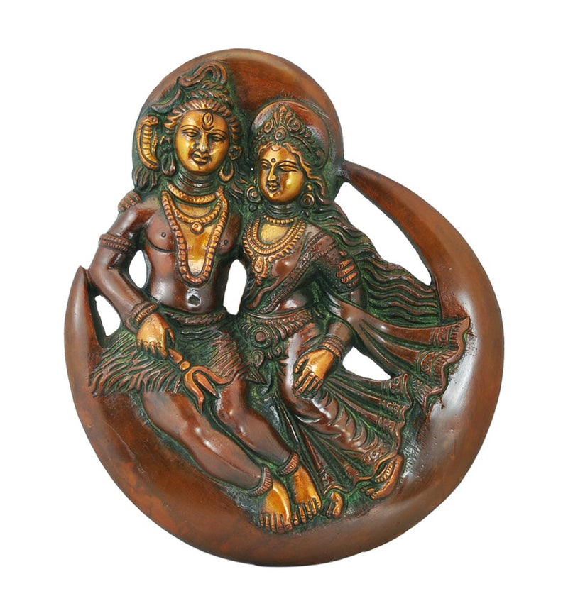 Shiv Parvati Sitting on Moon Brass Wall Plaque