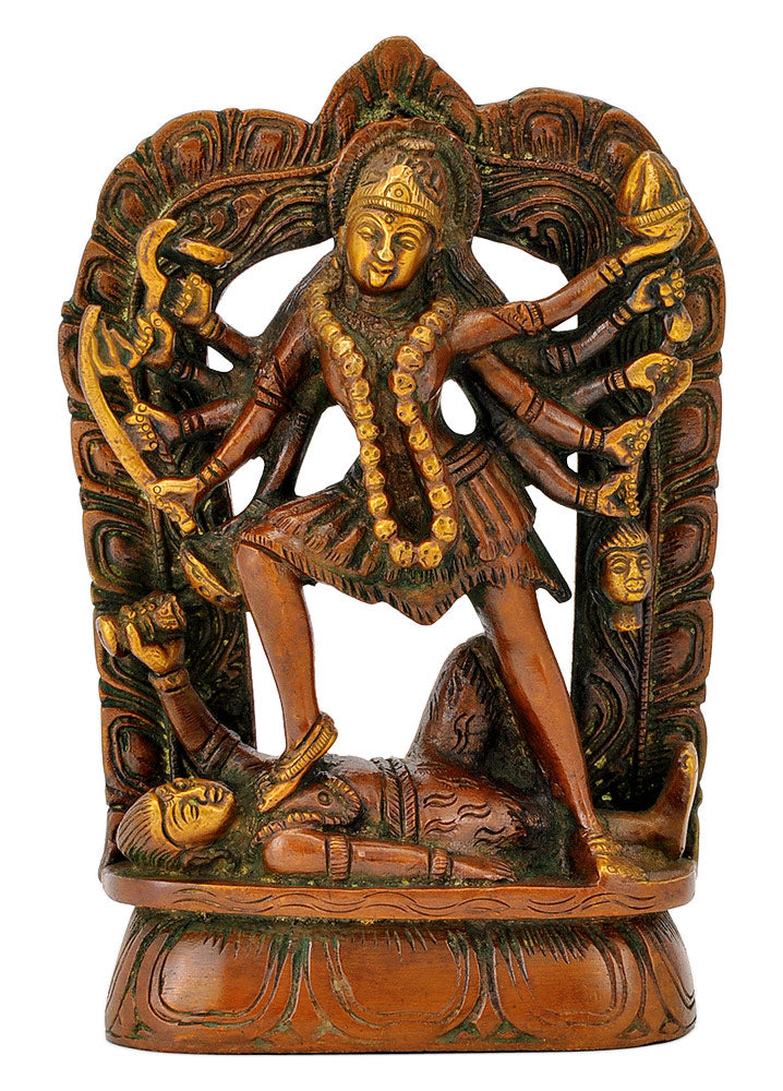 Ten Armed Goddess Kali in Golden Brown Finish