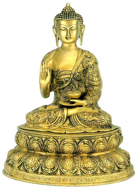 Buddha with 'life of buddha' carving on his robe
