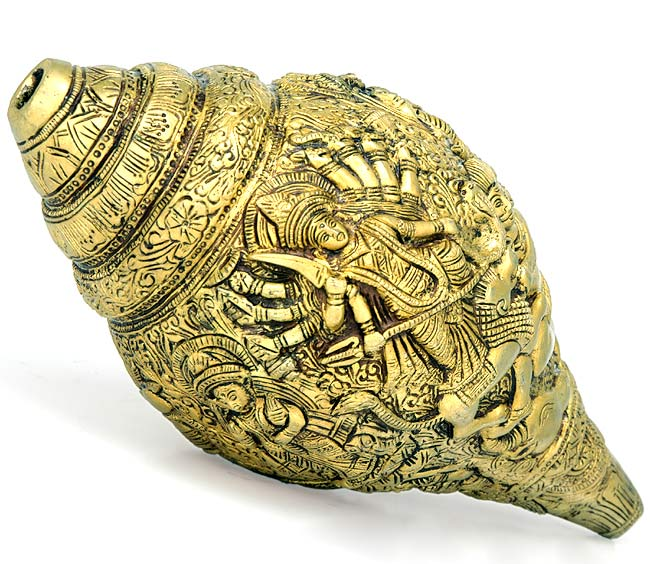 Durga Story Carving on Brass Conch 9.50""