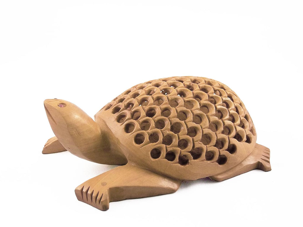Jali Work Wood Tortoise Showpiece