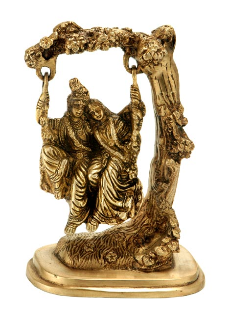Radha Krishna - Divine Couple on Swing 6.50""