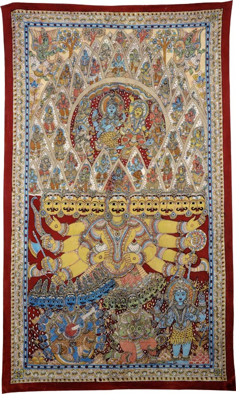 Ravana's Penance to Appease Lord Shiva - Large Kalamkari Painting