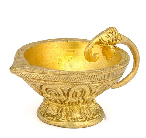 Ornate Elephant Puja Diya in Brass 3.5""