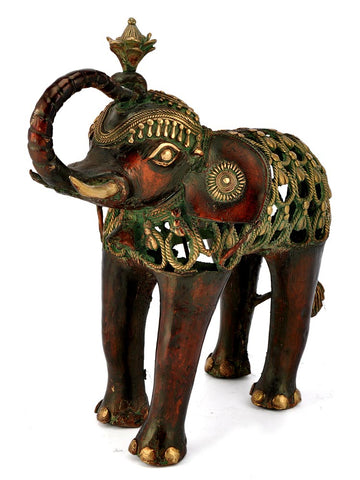 'Obedient Elephant' Tribal Art Figurine 16""