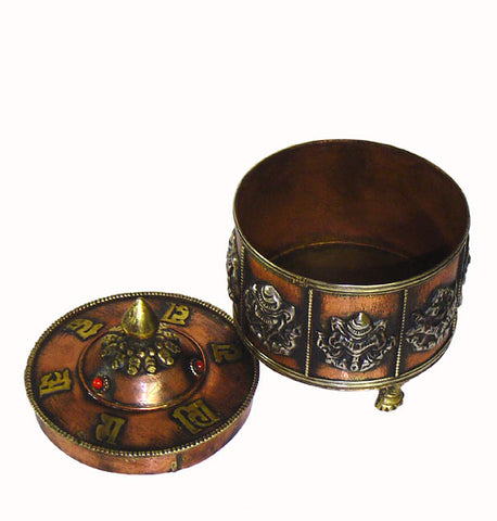 Tibbetan Copper Container with Ashtamangla Symbols