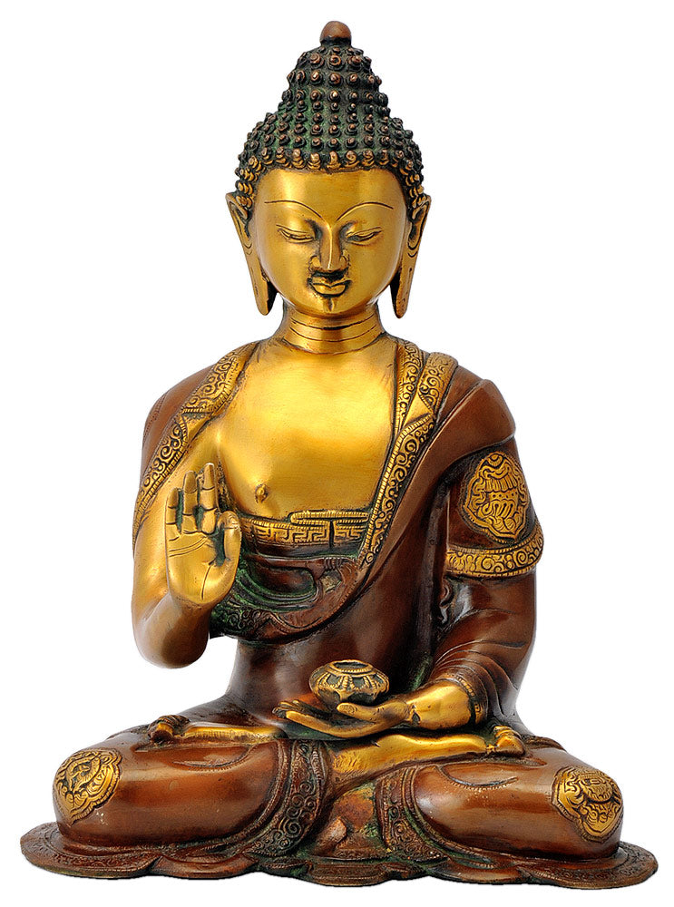 Buddha with Ashtamangala Signs Carved on His Robe 14""