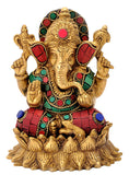 Lord Ganesha Seated on Lotus Base