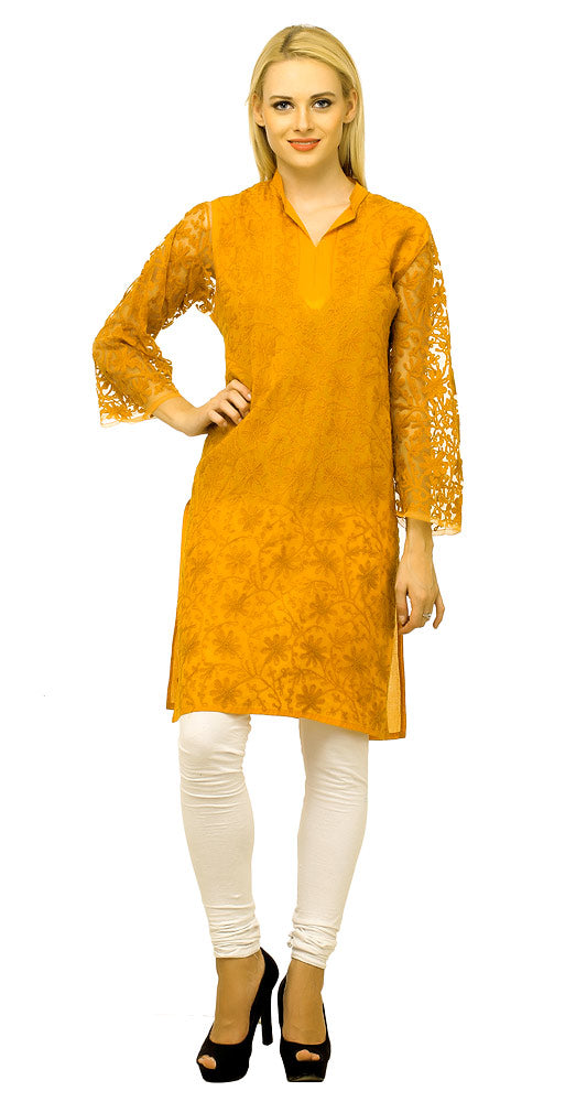 Cool Orange Embroidered Cotton Kurta for Summers