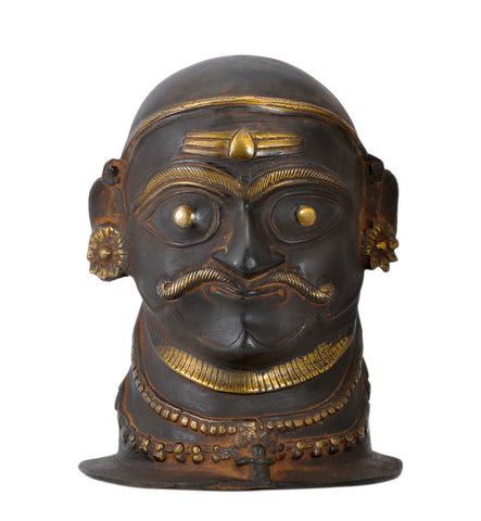 Shiva Gana Virabhadra - Brass Head Antique Finished 8.50""