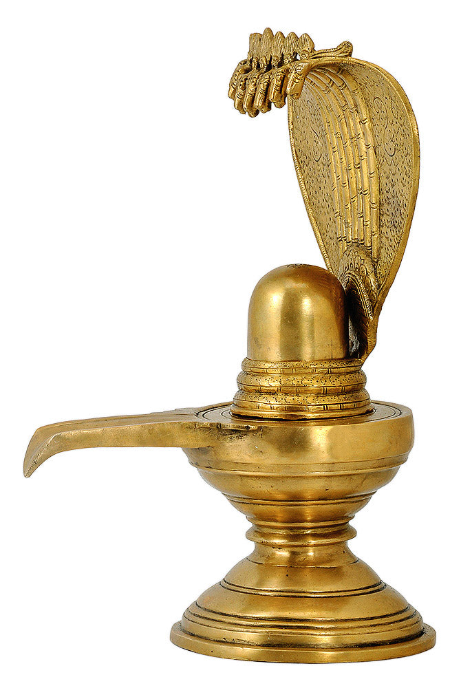 Brass Shiva Lingam with Seven Headed Serpent