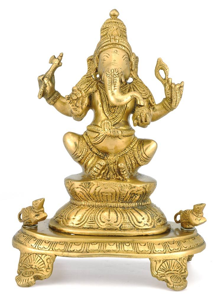 """Lord Vinayak"" Brass Sculpture"