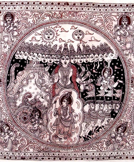 Krishna Virat Roopa with Dashavatara - Large Kalamkari Painting